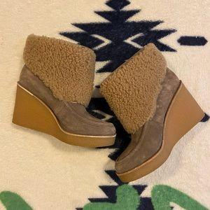 Ugg furry heel booties